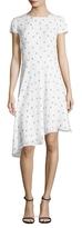 St. John Ditsy Silk Georgette Printed Asymmetrical Dress