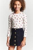 FOREVER 21 girls Girls Corduroy Button Skirt (Kids)