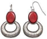 Jules B Red Hoop Drop Earrings