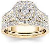 MODERN BRIDE 1 CT. T.W. Diamond 10K Yellow Gold Bridal Ring Set