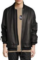 Public School Rudyard Leather Bomber Jacket, Black