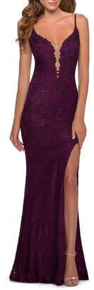 La Femme Lace Mermaid Gown