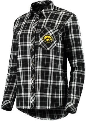 Women's Black Iowa Hawkeyes Essential Flannel Button-Down Long Sleeve Shirt