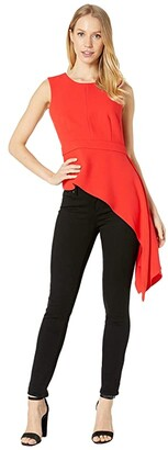 BCBGMAXAZRIA Sleeveless Peplum Top (Rosso) Women's Clothing