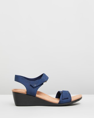 Vionic Women's Blue Sandals - Adelaide Wedge Sandals - Size One Size, 5 at The Iconic