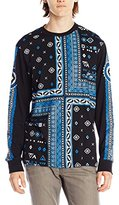 Southpole Men's Engineered Print Patterned Long Sleeve Tee with Squared Patterns