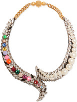 Shourouk Piuma gold-tone crystal and faux pearl necklace