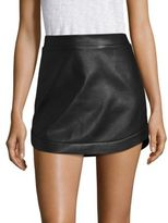 BCBGMAXAZRIA Kanya Curved Hem Leather Mini Skirt