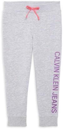 Calvin Klein Little Girl's Logo Cotton-Blend Sweatpants