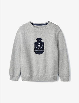The Little White Company Train-embroidered cotton jumper 1-6 years