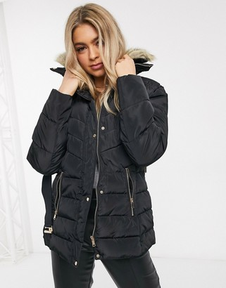 AX Paris belted puffer coat with faux fur collar in black
