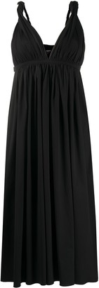 Rochas V-neck gathered waist dress