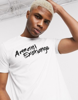 Armani Exchange sequin logo stretch t-shirt in white