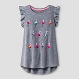 Cat & Jack Girls' Flamingos Graphic Tee Cat & Jack - Turbine Gray