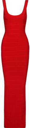 Herve Leger Split-back Metallic Bandage Gown