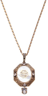 Alexander McQueen Antique Goldtone Signature Charm Seal Crystal Pendant Necklace