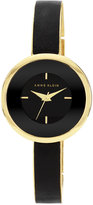 Watch, Women's Black Leather and Gold-Tone Bracelet 31mm AK-1232BKGB