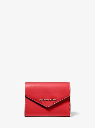 MICHAEL Michael Kors MK Medium Crossgrain Leather Envelope Wallet - Bright Red - Michael Kors