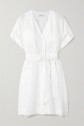 Equipment Bernyce Belted Linen Mini Dress - White