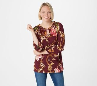 Susan Graver Printed Liquid Knit Bracelet-Sleeve Peasant Top