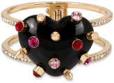 Betsey Johnson Gold-Tone Black Heart Hinged Bangle Bracelet