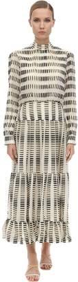 Saloni Silk Blend Pleated Midi Dress