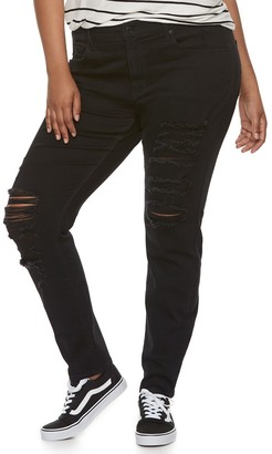 Mudd Juniors' Plus Size Destructed Low-Rise Skinny Jeans