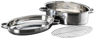Baccarat Gourmet Stainless Steel Non Stick Oval Roast & Steam 3 Piece Set
