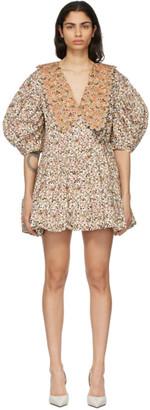 Kika Vargas White and Tan Victoria Short Dress