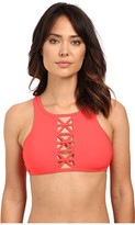Red Carter Splice & Dice High Neck Strappy Front Tank Top