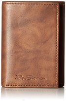 Ben Sherman Men's Manchester Full Grain Cowhide Marble Leather Trifold Wallet