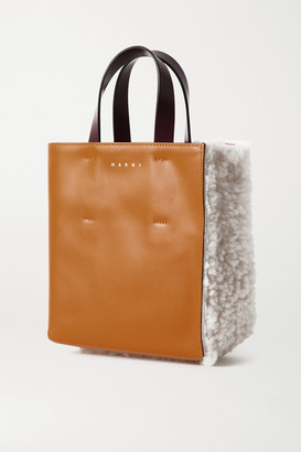 Marni Museo Mini Shearling And Leather Tote - Off-white