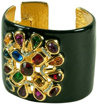 Kenneth Jay Lane Black Enamel Cuff with Clear Crystals Motif-Gorgeous!