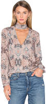 House Of Harlow x REVOLVE Naomi Tie Neck Blouse in Taupe. - size S (also in XS)