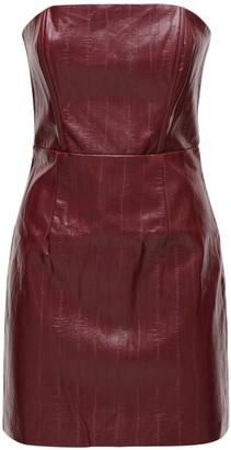 Rotate by Birger Christensen Herla Strapless Faux Leather Mini Dress