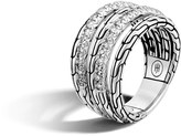 John Hardy Classic Chain Ring in Silver with Diamonds