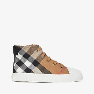 Burberry Belford Check Trainer (Toddler/little Kid) (Classic/Optic White) Kid's Shoes