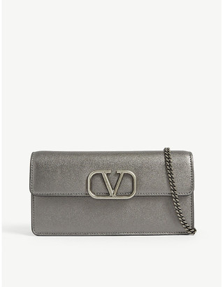 Valentino VSLING metallic leather wallet on chain