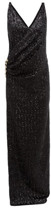 Balmain Sequinned Wrap-effect Gown - Womens - Black