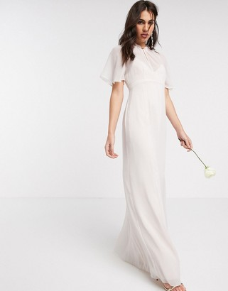 Maids To Measure bridesmaid sheer cape maxi chiffon dress