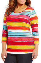 Investments Plus Essentials Scoop Neck 3/4 Sleeve Stripe Printed Top