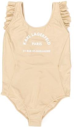 Karl Lagerfeld Paris TEEN address print swimsuit