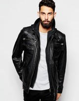 Schott Leather Jacket With Hoodie Insert