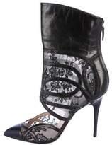 Monique Lhuillier Lace Pointed-Toe Ankle Boots