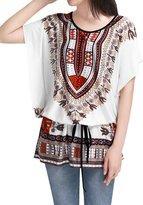Allegra K Women Round Neck Batwing Sleeve Semi Sheer Multicolor Tunic Shirt