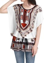 Allegra K Women's Novelty Pattern Batwing Sleeve Semi Sheer Tunic Shirt Beige S