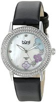 Burgi Women's BUR142SSW Silver Quartz Watch With Swarovski Crystal and Diamond Mother of Pearl Dial With Black Leather Strap
