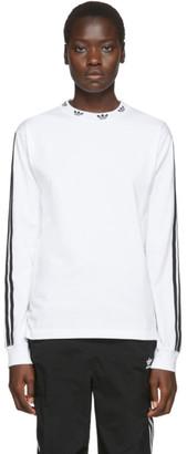 adidas White Trefoil Ribbed Long Sleeve T-Shirt