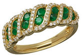 Lord & Taylor Emerald, Diamond and 14K Yellow Gold Lattice Ring