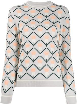 Barrie geometric jacquard jumper